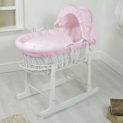 New 4Baby White Wicker / Pink Waffle Padded Baby Moses Basket & Rocking Stand
