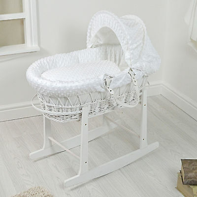 New 4Baby White Wicker / White Dimple Padded Baby Moses Basket & Rocking Stand