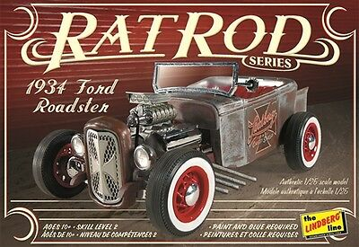 Lindberg 1:25 1934 Ford Roadster Rat Rod Plastic Model Kit HL122 LND122