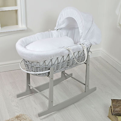 New 4Baby Grey Wicker / White Waffle Padded Baby Moses Basket & Rocking Stand