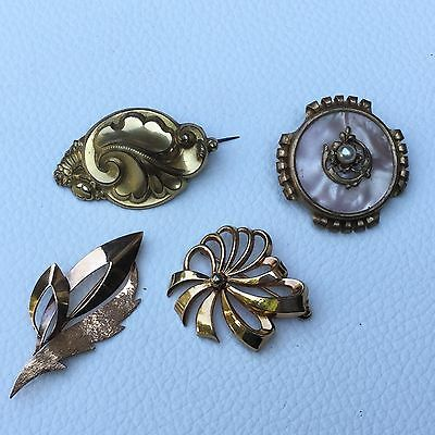Lot De 4 Broches Vintage 1930 En Métal Doré French Brooch