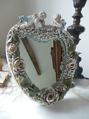 German Porcelain Cherub & Flower Encrusted Heart Shaped  Mirror 19th Century