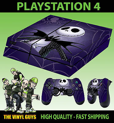 PS4 Skin Nightmare Before Christmas Jack Pumpkin Sticker + Pad decals Vinyl LAID