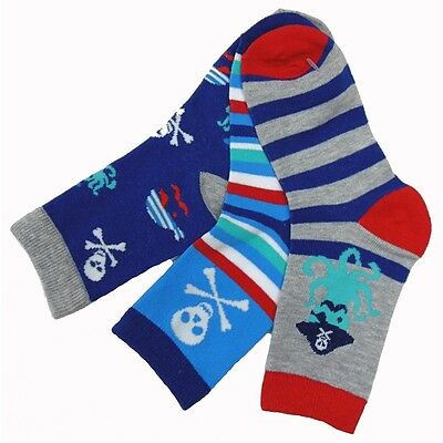 Cute Baby Boys Toddlers Kids 3 Pack Striped Pirate Design Cotton Socks New