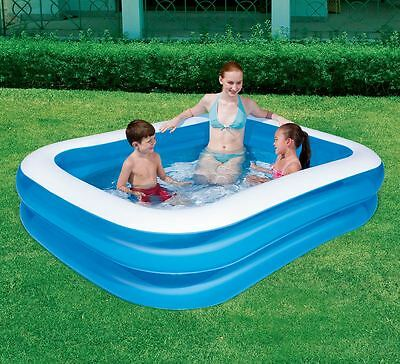 """Bestway 79""""x59""""x20"""" Inflatable Blue Rectangular Family Swimming Paddling Pool"""