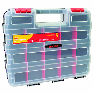 Amtech 34 Section Double Sided Storage Plastic Tool Box Organiser