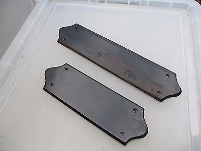 Antique Wooden Finger Plates Push Door Handles Architectural Vintage Old Salvage