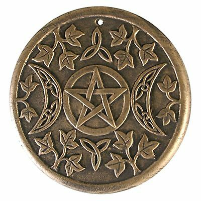 Triple Moon Pentagram Wall Plaque 20cm High Maid Mother Crone Lisa Parker