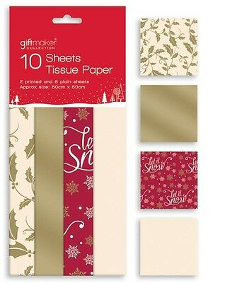 10 Sheets Christmas Tissue Paper Gift Wrap Red Gold Cream Holly Snowflake Design