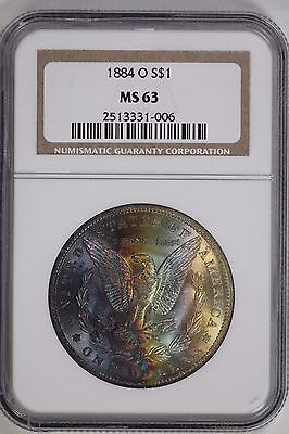 1884 O Morgan Dollar NGC MS63 Rainbow Toned United States Mint Coin