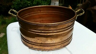 Antique Vintage OVAL SOLID COPPER POT/ PLANTER with Cast Brass Handles
