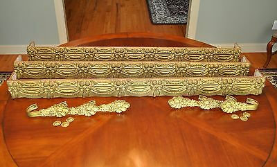 "Three 59"" Victorian Embossed Brass Window Cornices with original Tie Backs"