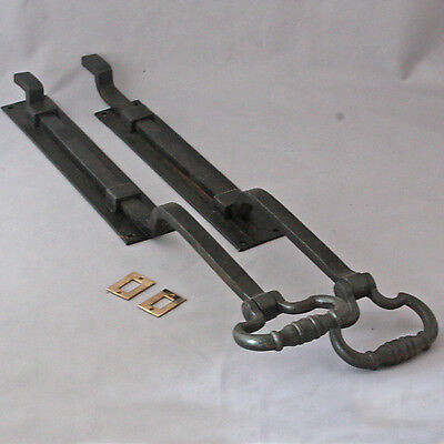 Pair Large Antique Victorian Iron Door Bolts