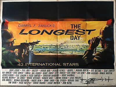THE LONGEST DAY (1962) - Original Vintage Film Poster - UK Quad