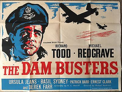 THE DAM BUSTERS (1955) - Original Vintage Film Poster - UK Quad