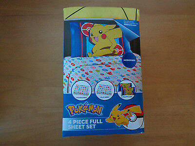 Pokemon Electric Ignite Pikachu Full 4 Piece Sheet Set Pokeball ~ Free Shipping