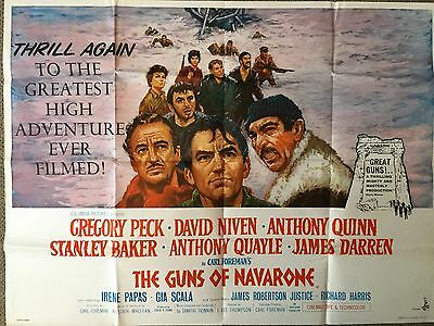THE GUNS OF NAVARONE (1961) - Original Vintage Film Poster - UK Quad