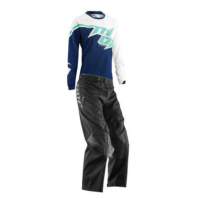 Thor Navy Blue Jade White Phase Off-Road Womens Dirt Bike Jersey & Pants MX ATV