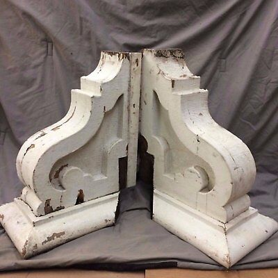 Pair Large Antique Corbels Bookshelves Vintage 1918-16
