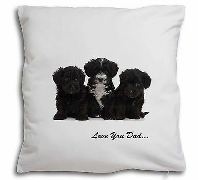 Yorkipoo Pups 'Love You Dad' Soft Velvet Feel Scatter Cushion Chris, DAD-139-CPW