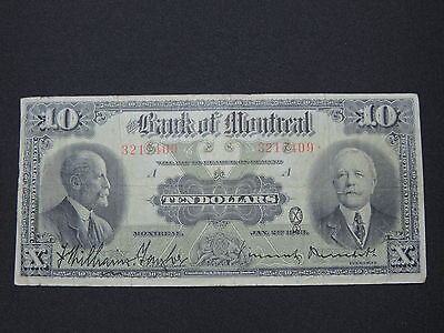 1923 $10 The Bank Of Montreal Banknote Bill 3217409 Williams-Taylor Canada Vf