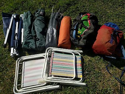 Camping gears: folding table & chairs, tent, poles, in carrying bag.