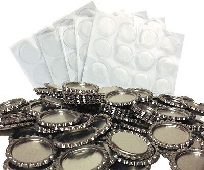Pack of 100 Flat Chrome Bottle Caps Craft and 100 Epoxy Clear Resin Domes #65