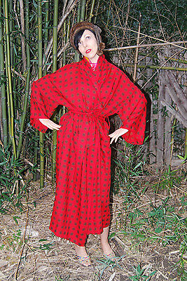 Vintage MEN'S 50s 60s 1950s 1960s Bath Robe Smoking Jacket Red SLICK n Dandy! M