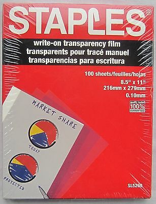 Staples Write on Transparency Film 8.5 x 11 SL5260 100 Sheets Guaranteed