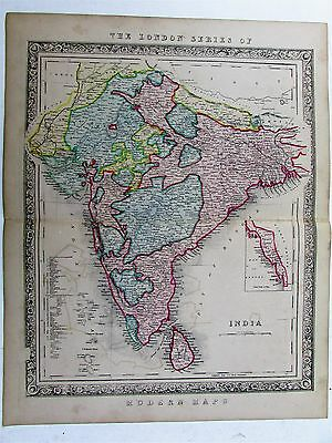 British India rare c.1850 Betts decorative large hand color antique map
