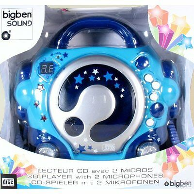 BigBen CD47 CD Player with 2 Microphones - Blue