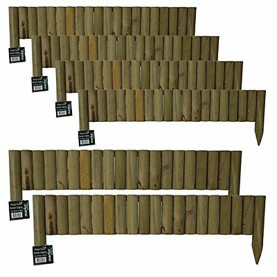 12x 1M Log Roll Border Fixed Picket Fence Edge Garden Outdoor Lawn Edging