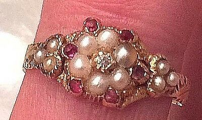 GEORGIAN REGENCY PERIOD RUBY & 14kt GOLD RING EARLY 1800s, size 6.25 EXC. COND.