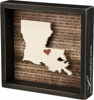 LOUISIANA Primitives by Kathy Favorite Place State Box Sign