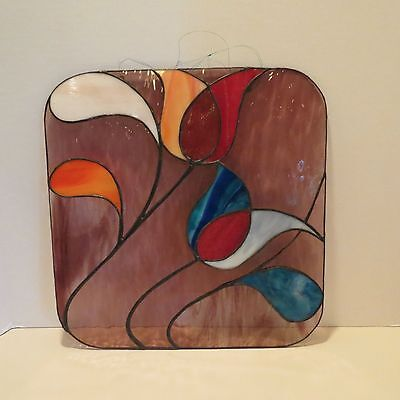 Colorful Vintage Leaded Stained Glass Hanging Window Panel~Tulips. 14 Inch