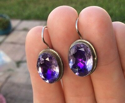 Antique closed back Large Pair of Foiled Amethyst Silver Earrings
