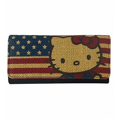 NWT Loungefly Hello Kitty American Flag Embroidered Trifold Wallet