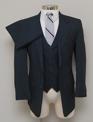 Vintage Mens 38R Sears Classic Collection 3 Piece Blue Pinstripe Suit