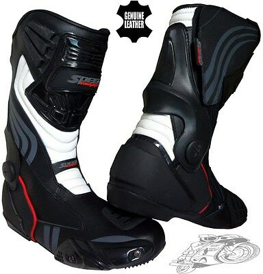 Real Leather Mens Motorbike / Motorcycle Ce Racing Sports Track Shoes / Boots