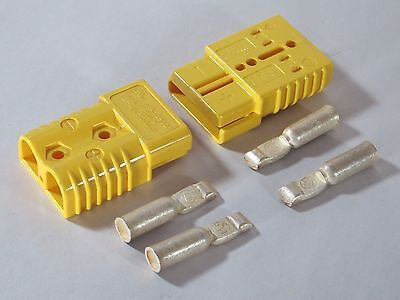 "2 CONNECTORS w/CONTACTS #2AWG SB175 ANDERSON YELLOW 3""X2""X1"" WINCHES QUAD"