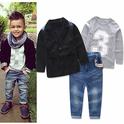 3pcs Toddler Kids Baby Boys Gentleman Coat+Shirt+Jeans Pants Clothes Outfits Set