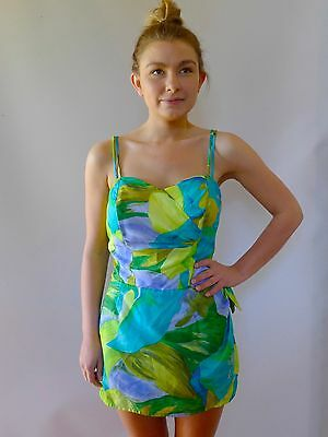 vintage retro true 50s 12 M + womens swimsuit Hawaii  skirt very good