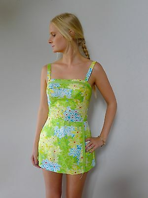 vintage retro 60s XS S 8 swimsuit playsuit Gabor excellent skirt Mod
