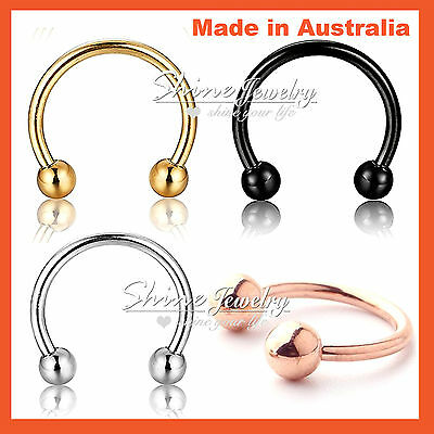 Silver Gold Rose Black Steel Horseshoe Barbell Bar Ear Nose Lip Septum Piercing