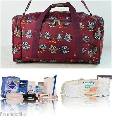 Budget pre-packed hospital/maternity/labour bag Mum & Baby burgundy owl holdall
