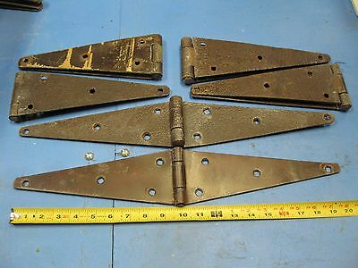"6 ea.  Vintage Strap Hinges, 3 1/2"" wide by 20"" long (open)"