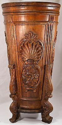 Antique Victorian Cane / Umbrella Stand, Hand Carved Wood Stand, BEAUTIFUL!