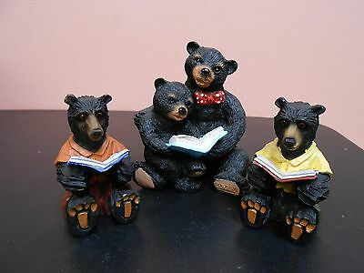 """Lot of 3 Black Bear figurines Reading Books Resin 2 1/2"""" and 4"""" tall"""