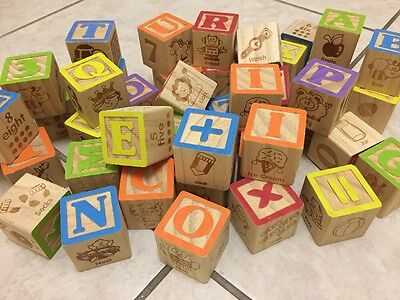 Lot 42 Wooden ABC alphabet play blocks numbers and pictures Wood cubes math prek