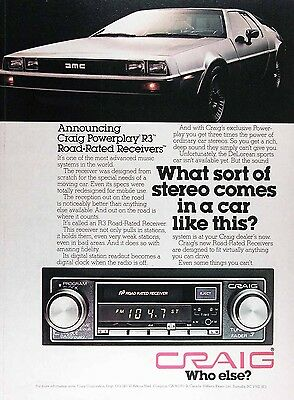 1979 CRAIG CAR STEREO Genuine Vintage Advertisement ~ 1981 DeLOREAN
